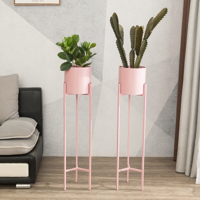 pink wrought iron flower pots