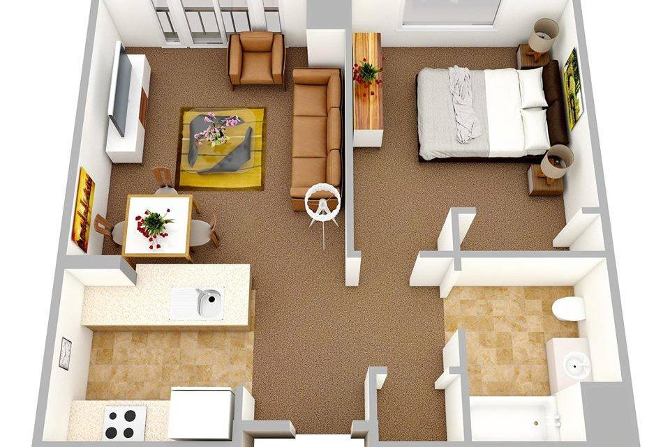 One Bedroom Apartments – 3D Floor Plans