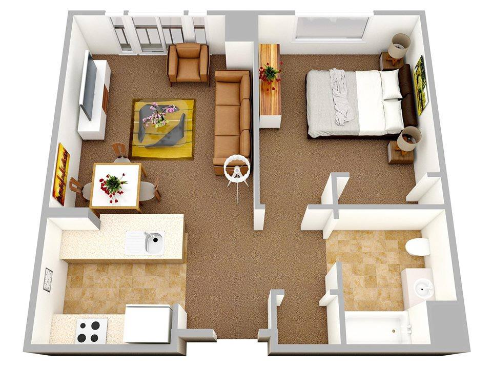 One Bedroom Apartments 3d Floor Plans