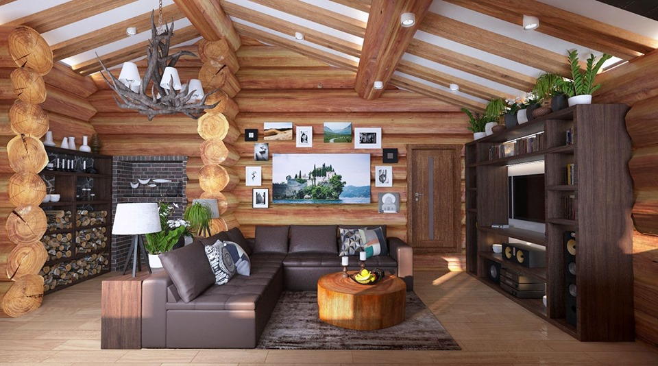 Magnificent Interior of Wooden Cottage