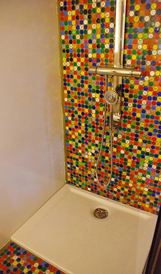 bottle caps bath wall