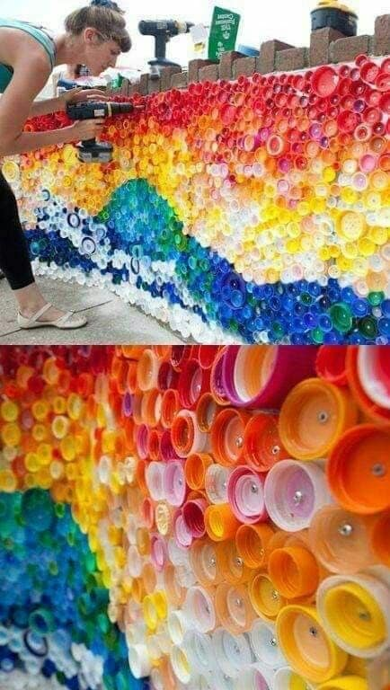 retaining wall made from bottle caps