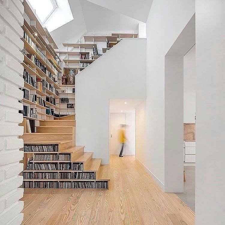 bookcase and wooden stairs