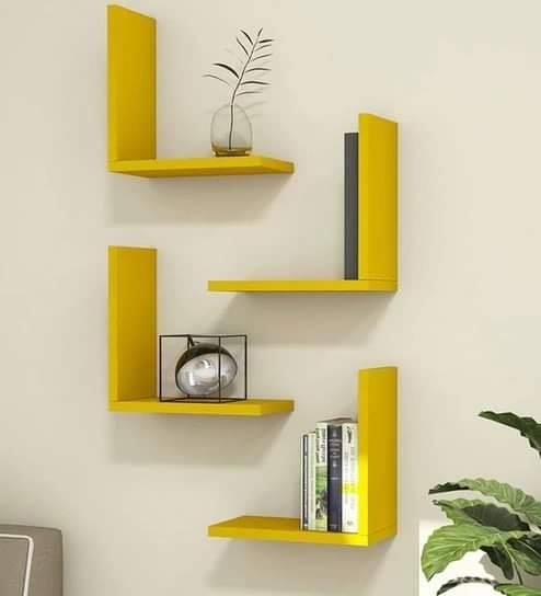 yellow wall shelf