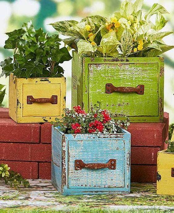 wood drawer planter