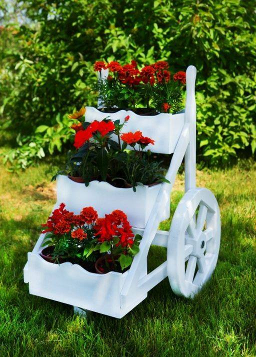 white planter and wheel