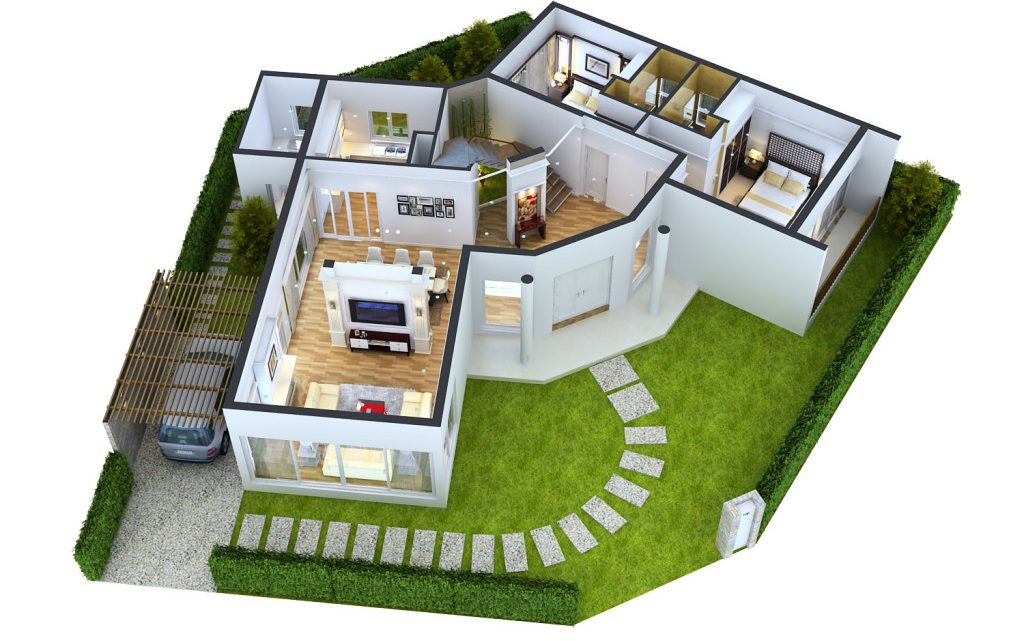 Two-Bedroom House Plans in 3D