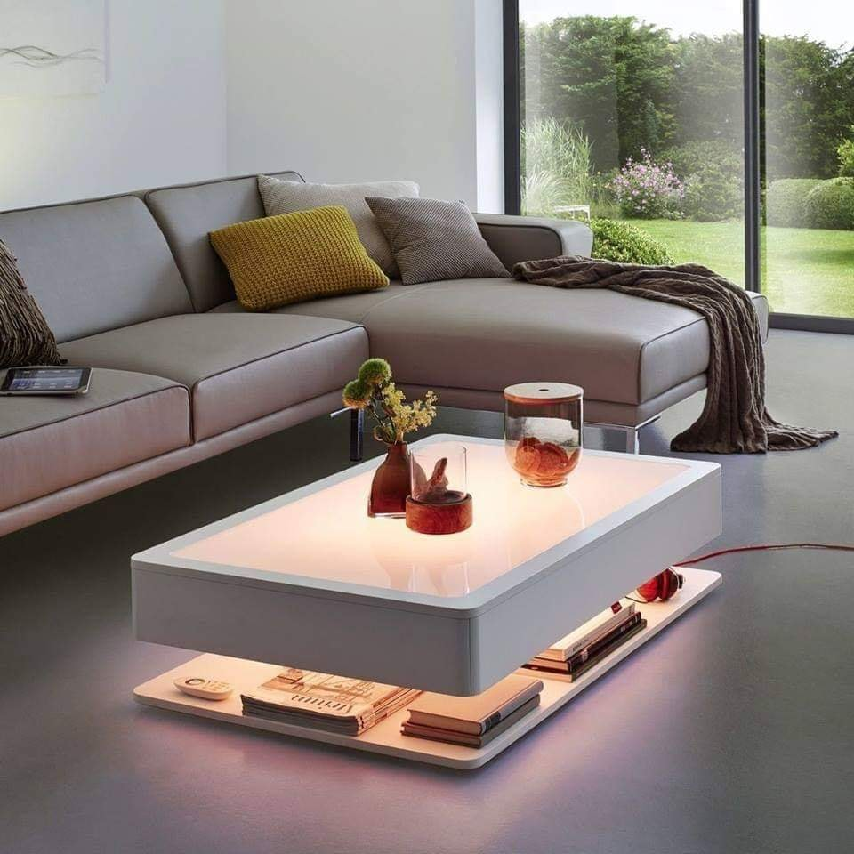 coffee table and led