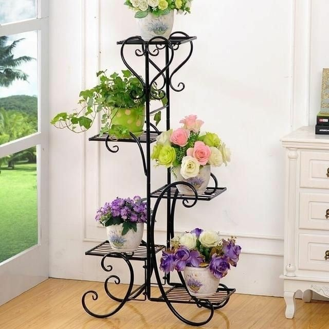 black wrought iron holders