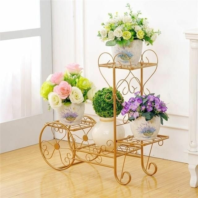 golden flower pot holder