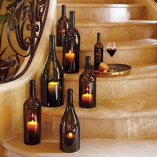 wine bottles candle holders