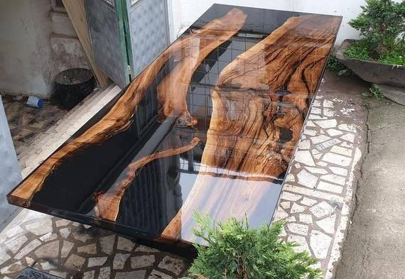black wood table