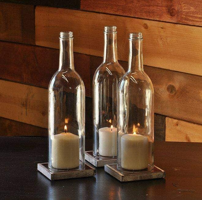 glass bottle candle holders