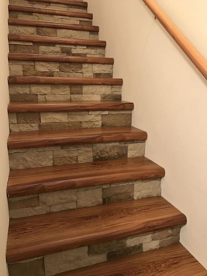 wood and bricks stairs