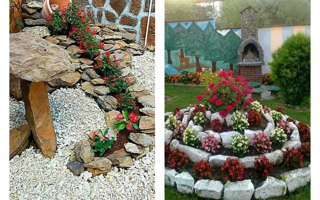 Decorating Garden With Rocks and Flowers