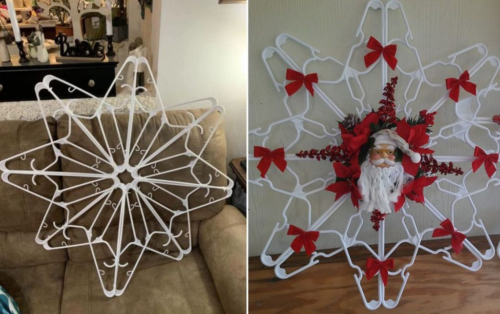 clothes hanger snowflake