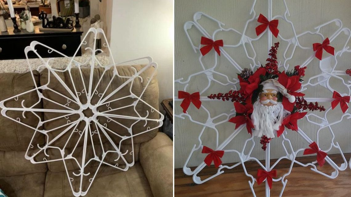 DIY Nice Clothes Hanger Snowflake Wreath