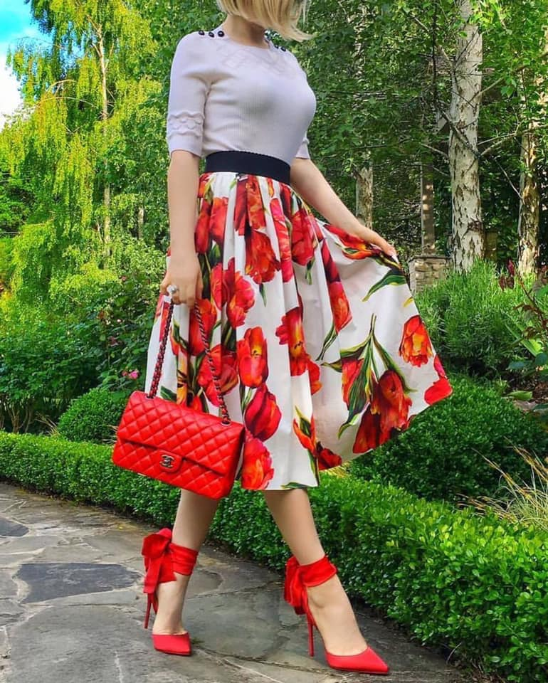 red and white skirt and bag