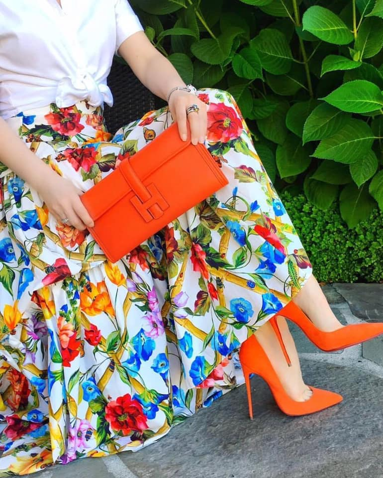 orange shoes and bags