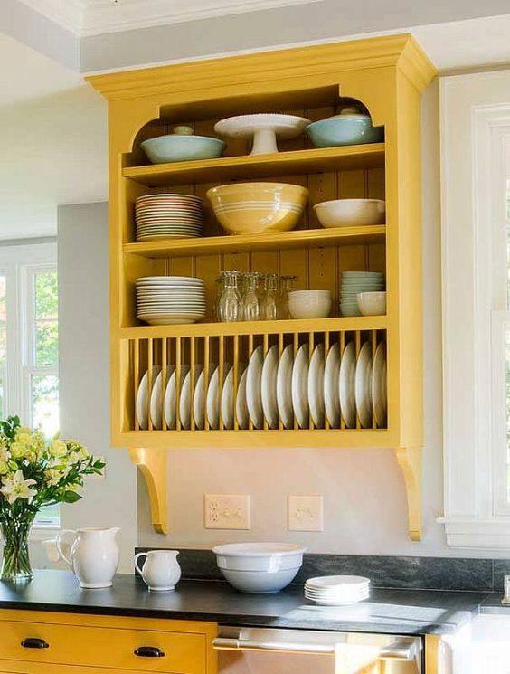 yellow kitchen shelving