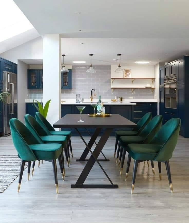 turquoise dining room