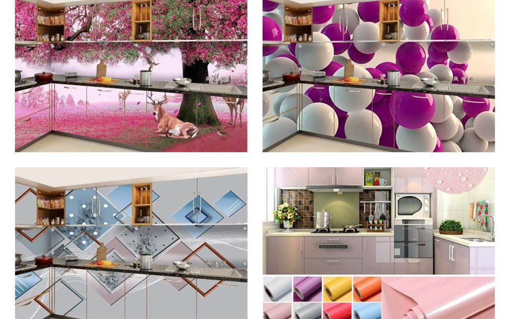 Contemporary Kitchen Cabinet Wallpapers in 3D