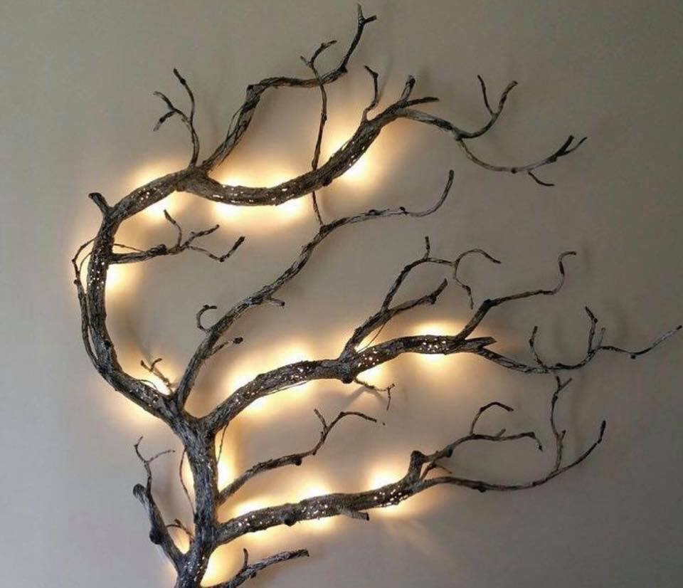 tree branches wall lighting