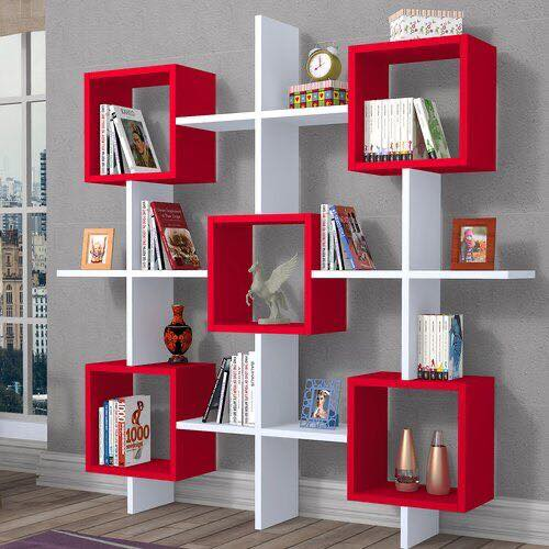 red and white shelves
