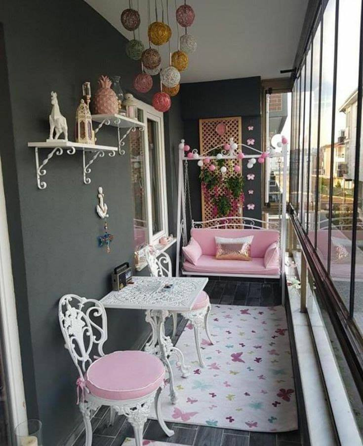 pink and white balcony