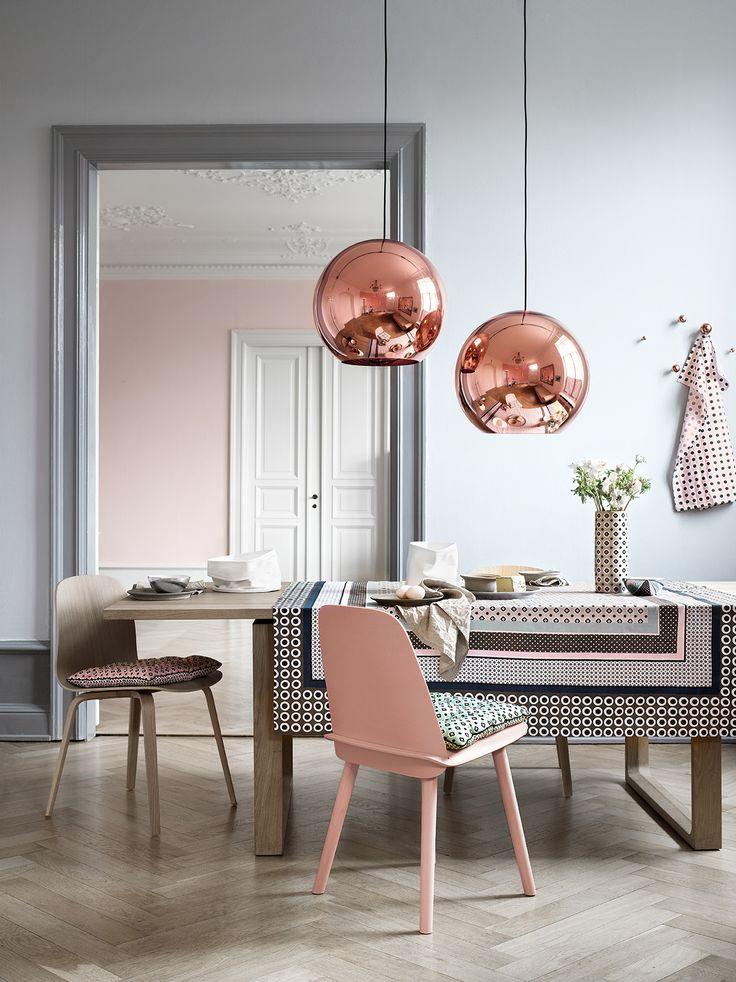 copper accent chandelier