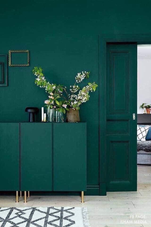 dark green walls