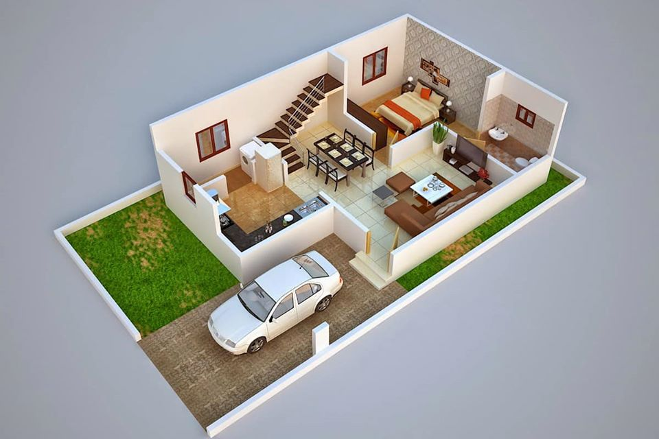 3D Duplex House Plan