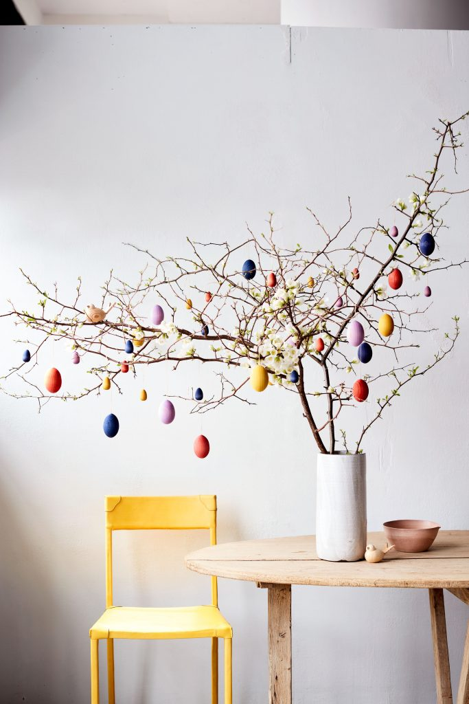 glass bowl DIY Easter egg tree