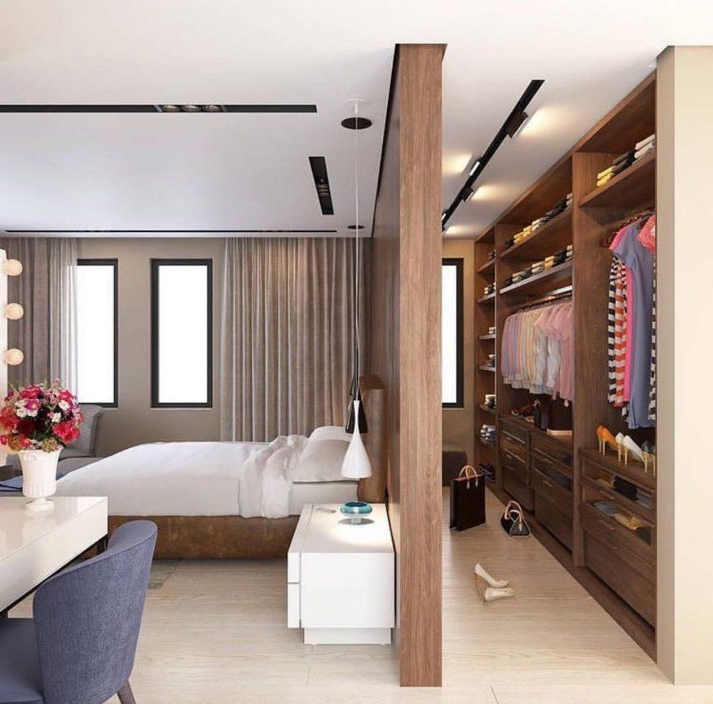 false wall dividing bedroom