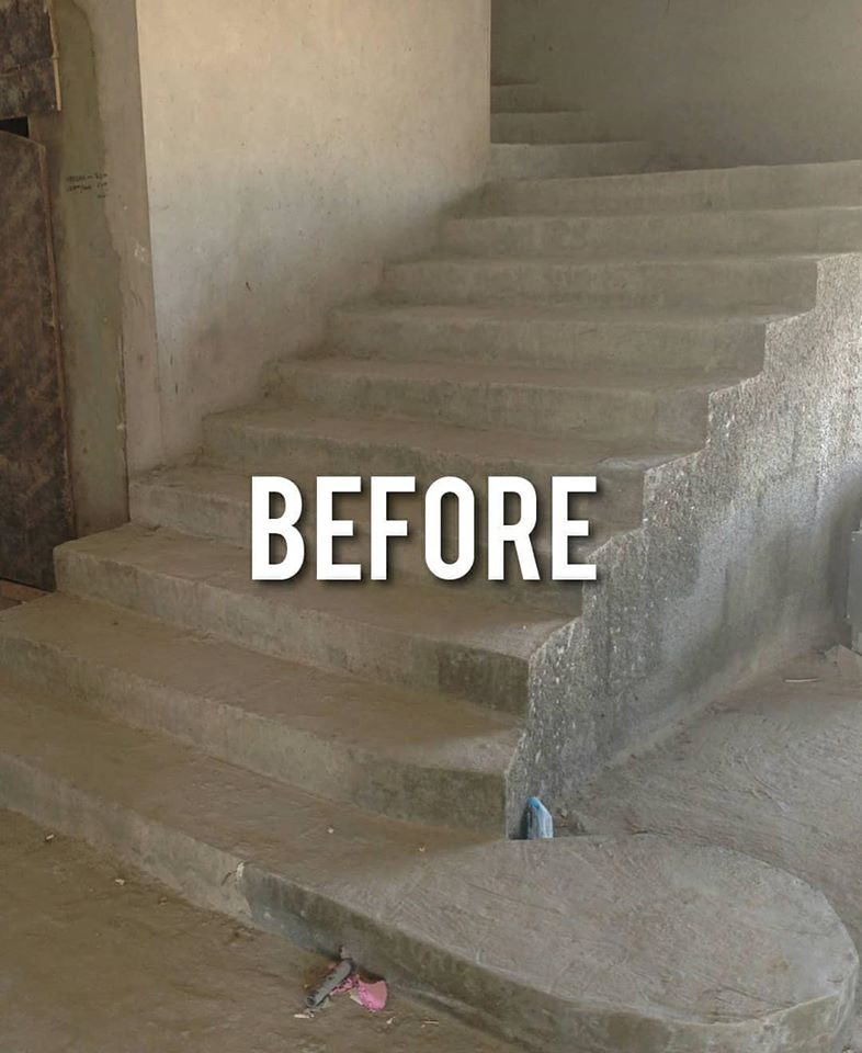 before / stairs