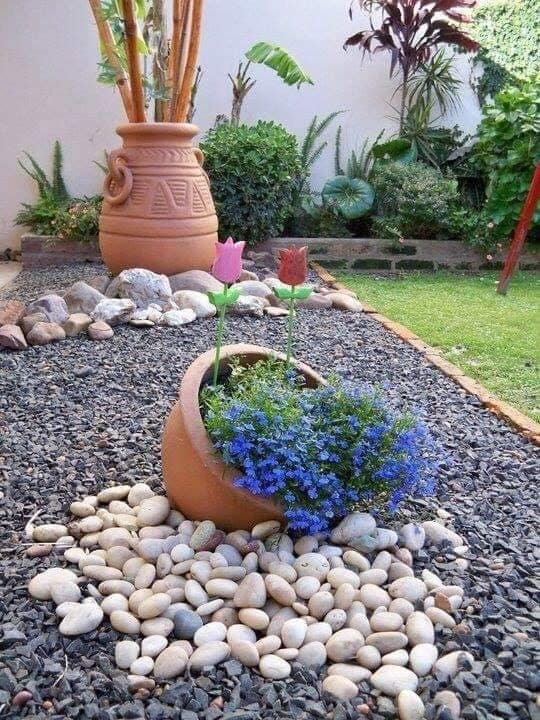 affordable pebble garden