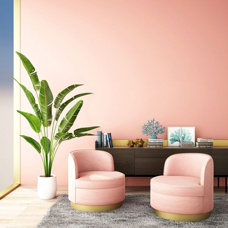 blush pink colored home