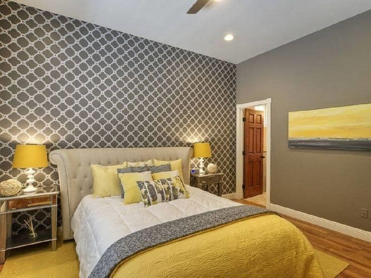 yellow shades in bedroom place