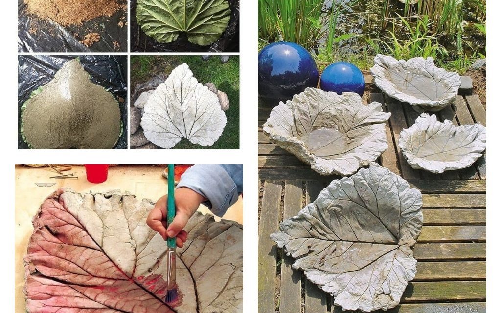 DIY Water Fountain With Cement and Leaves