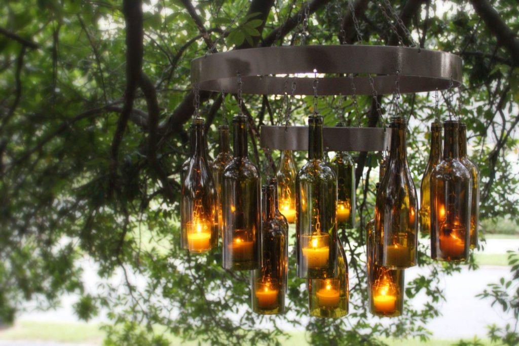 wine bottles chandelier