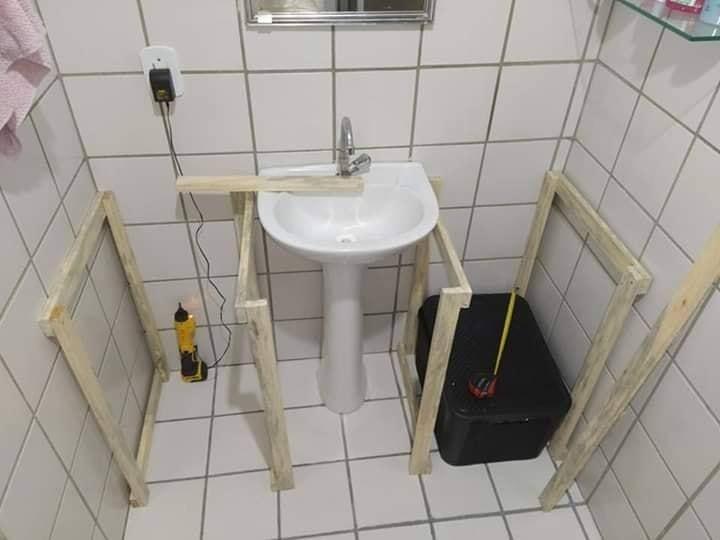 wooden bath sink